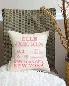 12 Birth Announcement Keepsake Pillow  Cotton by lovingLeighYours