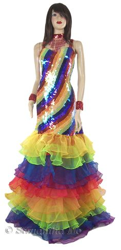 Celebrity Outfit 299 Unique Tailor Made Fully Sequined Gay Pride Rainbow Gown Celebrity Prom Dresses, Celebrity Outfits, Oscar Dresses, Evening Dresses, Rainbow Prom Dress, Rainbow Costumes, Rainbow Fashion, Maxi Robes, Pageant Gowns