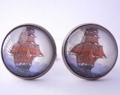 Sailboat Cufflinks Ship Cuff links Nautical Men's Cufflinks Sailor Cuff links Marine cufflinks Vintage Ship Vintage Sail Boat Tall Ship