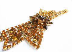 Vintage Flower 1930s Rhinestone Bracelet  by by PopAndGlamVintage