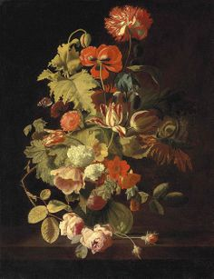 "Simon Pietersz Verelst (1644–1710), Dutch painter - ""Carnation, iris, roses, tulips and other flowers in glass vase on a stone ledge"" (17th century)"