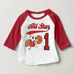 Shop All Star Sports Birthday Baby T-Shirt created by Kewlkids. 1st Birthday Boy Shirt, Baseball First Birthday, 1st Birthday Boy Themes, Sports Themed Birthday Party, Boy Birthday Parties, Birthday Shirts, 2nd Birthday, Sports Party, Birthday Ideas