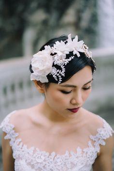 """""""Edie"""" Silk flowers and freshwater pearls headpiece"""