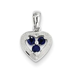 Sterling Silver Rhodium Plated Diamond and Sapphire Heart Pendant SKU: QGQP2975S $37.99