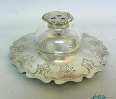 Sterling Silver Crystal Ink Stand Barnard London 1842