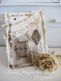 Rustic Romance Lace Journal -Inspiration - Scripture - Saved By Grace - Removable Slipcover - Perfection for scrapbook - Bible Journal. $46.50, via Etsy.