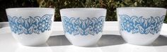3 Federal Glass Co blue and white daisy milk glass by vakvar, $15.00