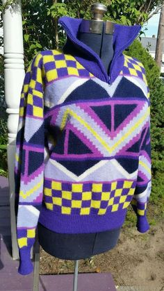 UGLY SKI SWEATER unisex EIR Sports Sun Valley USA 100% Wool Christmas Hanukkah Holiday purple M #EIRSPORTS #12Zip