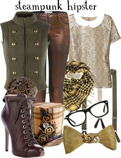 """""""Steampunk Hipster"""" by princesschandler ❤ liked on Polyvore"""