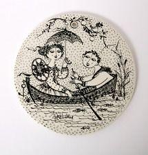 Bjorn Wiinblad Wall JULY Plaque Platte Plate Home Decor Black Birthday Gift her