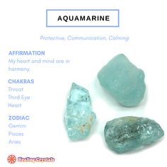 """""""Aquamarine resonates to the energy of the ocean, helping the holder to connect with the nature…"""" Gems And Minerals, Crystals Minerals, Crystals And Gemstones, Stones And Crystals, Crystal Guide, Crystal Shop, Crystal Magic, Wicca, Pagan"""