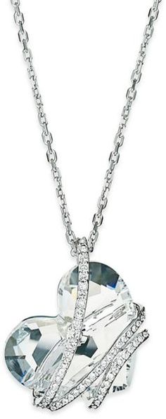 SwarovskiSilver Tone Crystal Heart Pendant Necklace