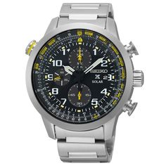 Seiko SSC369 Men's Watch Solar Chronograph Yellow Accents Prospex Flight Computer