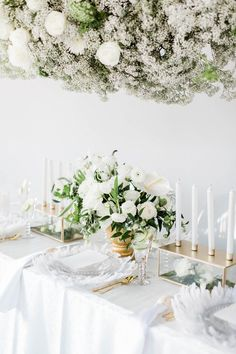 """The theme of the day was """"Love is in the Air"""" and this dreamy and delicate all-white wedding inspiration provides the feeling of floating on air! With suspended elements, puffy florals, and fluffy cloud details, this setting truly has us On Cloud Nine! Bella Wedding, All White Wedding, Plan Your Wedding, Floral Wedding, White Weddings, Classic Weddings, Green Weddings, Perfect Wedding, Candle Centerpieces"""