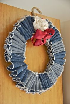 denim wreath made from old denim dress...country Christmas!