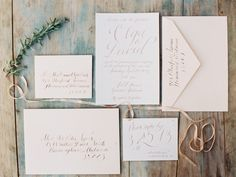 Love this suite...maybe in navy script.  simple wedding invitaions in elegant calligraphy