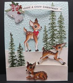Stampin' Up Cozy Reindeer card created by Lynn Gauthier using new SU products available Sept. 1 in the new SU Holiday Catalog. The Sentiment and Bells are from the new SU Cozy Christmas stamp set and the trees were fussy cut from the new SU Happy Scenes stamp set. The snowbanks were sponged with SU Dazzling Details and cut from the new SU Sleigh Ride Edgelits and the Reindeer were fussy cut from the new SU Home for Christmas DSP.
