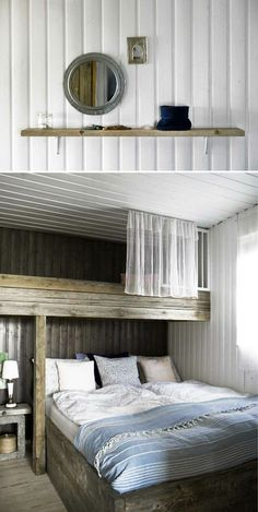 Bedroom: cosy rustic loft beds  Icelandic fishing cabin owned by homeanddelicious, via sfgirlbybay