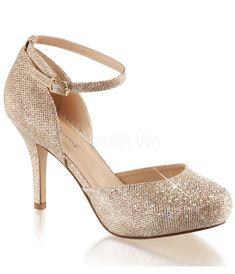 Gold Metallic Rhinestone d'Orsay Covet Heels