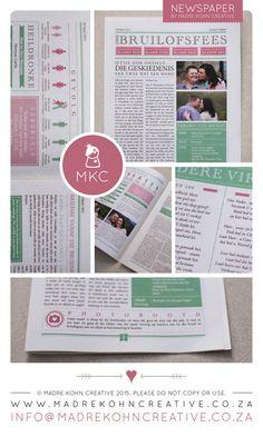 Rista-Mari & Jacques's pastel coloured wedding newspaper design done by Madre Kohn Creative.