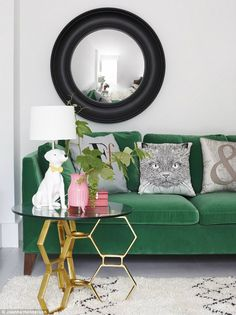 emerald couch with g