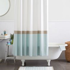 modern fabric shower curtain. Taking Advantage Of A Clean, Blank Canvas, The Horizon Stripe Shower Curtain Showcases Modern Fabric
