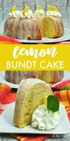Homemade Lemon Bundt Cake - Kitchen Fun With My 3 Sons Lemon Desserts, Lemon Recipes, Just Desserts, Cake Recipes, Dessert Recipes, Summer Recipes, Bunt Cakes, Cupcake Cakes, Lemon Bundt Cake