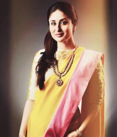 Elegant in Kundan jewellery and a Masaba saree. Love the unique yellow-pink combo. --- Kareena Kapoor