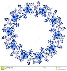 Picture of Vector floral frame in the style of Gzhel. Traditional russian ornament stock photo, images and stock photography. Perfect Attendance Certificate, Beautiful Flower Drawings, Free Hand Rangoli Design, Textile Pattern Design, Blue Tattoo, Quilt Labels, Cartoon Background, Blue Pottery, Stencil Painting