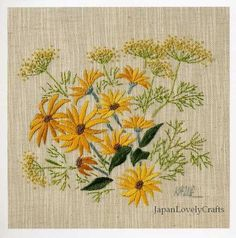Embroidery of Garden Flowers Japanese Stitch by JapanLovelyCrafts