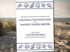 "Beach Wedding Program Template Download ""Lazy Starfish"" Coral Reef"