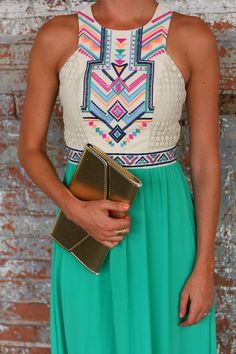 The Closet Confessional: Outfit Post: Tribal Maxi. Champagne and Strawberry brand maxi from South Moon Boutique