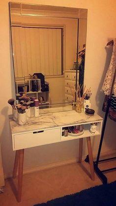 Vanity Table - Kmart Hack Bedroom ideas in 2019 Kmart decor makeup hacks at home - Makeup Hacks Decor, Cheap Home Decor, Bedroom Makeover, Diy Bedroom Decor, Table Shelves, Home Decor, Kmart Decor, Apartment Decor, Vanity Table