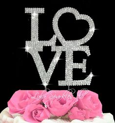 """Large size LOVE crystal Bling cake topper. Genuine crystal. Measures 5"""" x 5""""GORGEOUS cake topperMade in the Fabulous USA ships from the USA"""