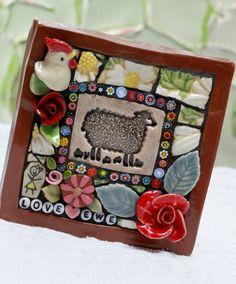 Sheep Mosaic art mixed media mosaic by Lisabetzmosaicart on Etsy, $54.00