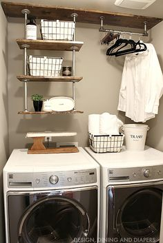 Design Dining Diapers has some fabulous Farmhouse Storage Ideas too! Come and see her Industrial Shelving and hanging space and snatch up the DIY! It adds extra storage space and pizzaz!