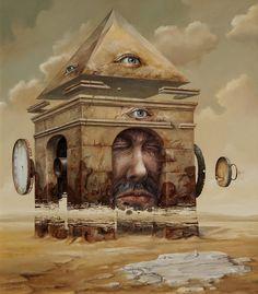 As incríveis pinturas surreais de paisagens com realidades distorcidas de Jaroslaw Jasnikowski ~ Ovelhas Voadoras