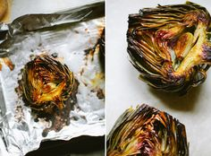 Lemon and Garlic Roasted Artichokes | A Thought for Food