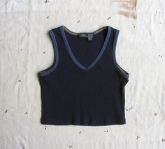 vintage c. 1990s navy cropped vneck tank with by MouseTrapVintage, $18.00