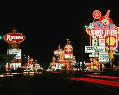 Looking south at the Las Vegas Strip from the Riviera and Circus Circus (1982)