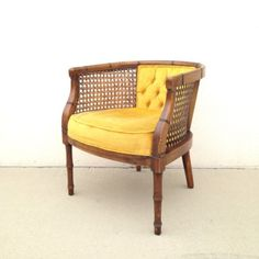 Hollywood Regency Vintage Cane Club Barrel Back Chair