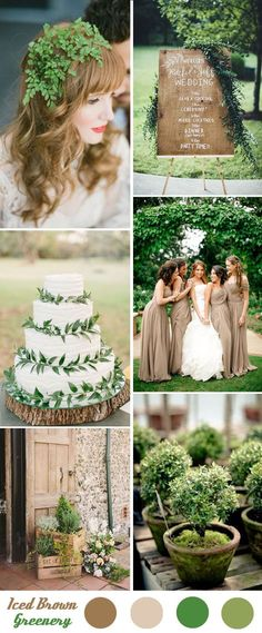 green wedding ideas-shades of iced brown and greenery wedding inspiration