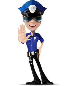 Policeman vector character dressed in a blue police gear. Our policeman vector is ready for action – he's got a gun, handcuffs and of course, a pair of mirrored sunglasses. Grab all Ai sources of our character now for free!