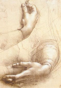 Page: Study of hands    Artist: Leonardo da Vinci    Completion Date: c.1474    Place of Creation: Milan, Italy    Style: Early Renaissance    Genre: sketch    Technique: metalpoint, ink    Material: paper    Dimensions: 21.4 x 15 cm    Gallery: The Royal Collection, Windsor-Castle, Windsor, UK    Tags: parts-of-human-body