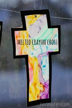 Melted Crayon Cross ~ Simple Easter Craft for kids.