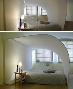 exotic cocoon bed with built in projection TV.  Bizarre but fun in a high tech way