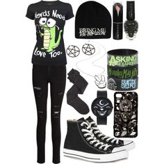 Nerds Need Love Too, scene/emo outfit<<<<don't like the pentagram earrings or necklace. Grunge Outfits, Cute Emo Outfits, Edgy Outfits, Band Outfits, Scene Outfits, Emo Fashion, Fashion Outfits, Latex Fashion, Gothic Fashion