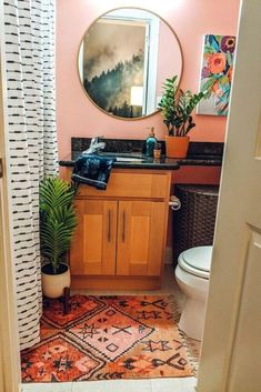 My small guest bathroom was neglected and boring. The rental mirror, the yellow walls, and the lack of character were all keeping this from being a fun space fo… Small Rental Bathroom, Guest Bathrooms, Diy Bathroom Decor, Bathroom Ideas, Navy Bathroom, Bling Bathroom, Boho Bathroom, Bathroom Makeovers, Budget Bathroom