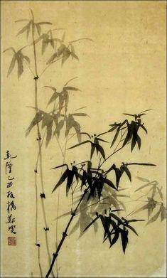 """29"""" h x 17"""" w Hand Painted Chinese Painting Ink Brush Xieyi Fresh Thin Bamboo wbz52"""