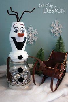 DIY Frozen Christmas Decorations Frozen Olaf Treat Jar